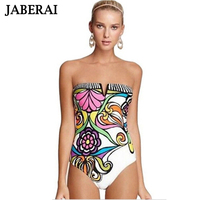 2015 Floral Bandeau Women Swimwear Sexy Lady Printed Deep V One Piece Swimsuit Push Up Retro
