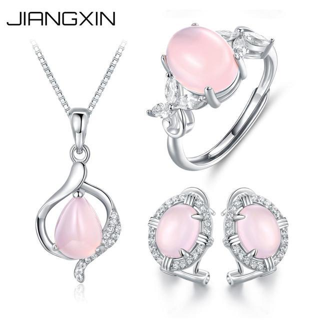 JiangXin Rose Quartz 925 Sterling Silver Pendant Necklace for Women oareYwx1