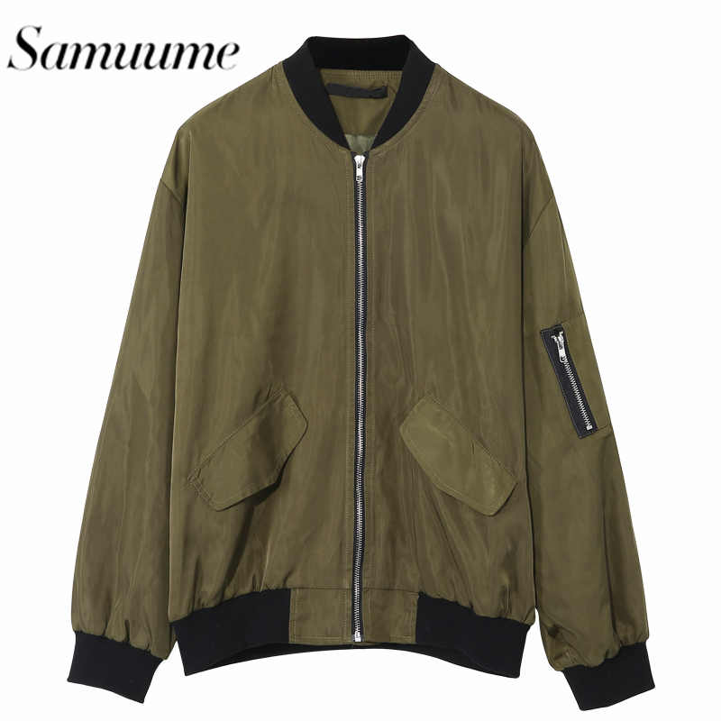 Samuume Casual Long Sleeve Jacket Coats Women Green Pink Bomber Jackets Zipper Pocket Casual Winter Female Outwear 1509180