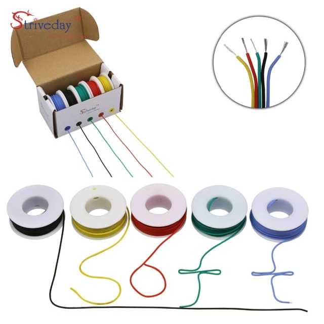 18 AWG 25 meters/box Flexible Silicone Wire Tinned Copper line ( 5 colors mix Stranded Wire Kit) each colors 16.4 feet