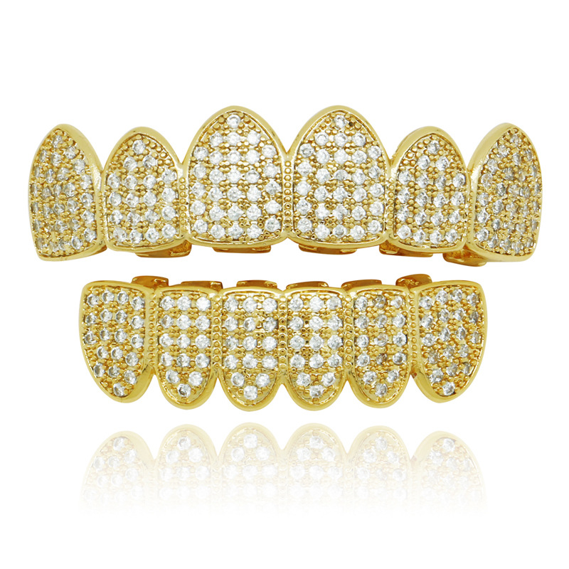 Fashion Hip Hop Iced Out Full Zircon Copper Grills Teeth Cap Gold Silver Grillz Teeth Top Bottom Set Bling Bling Rapper Jewelry topgrillz hip hop grillz iced out aaa zircon fang mouth teeth grillz caps top
