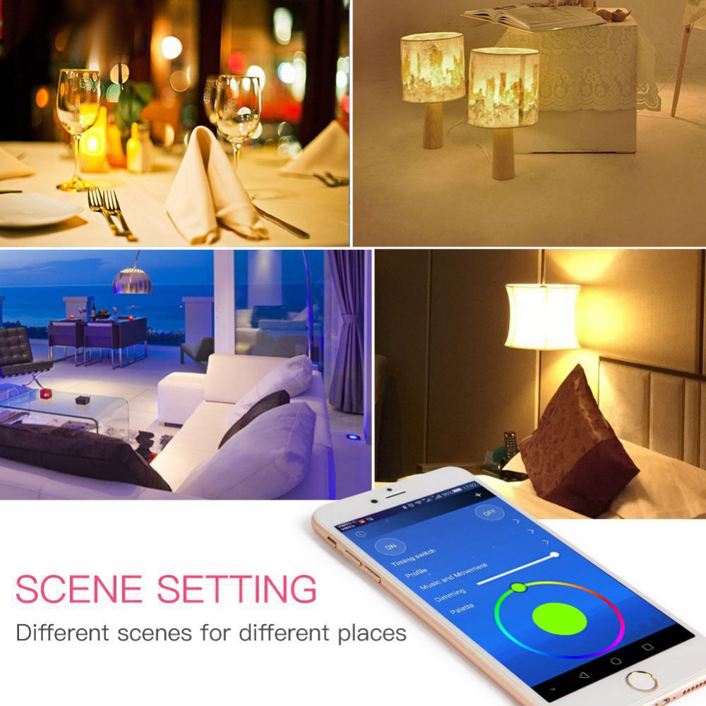 E27 Wireless WiFi Smart LED Bulb 6W 110V For IOS Android Alexa Voice Control Color Change Remote Control Light BUlb smart bulb e27 7w led bulb energy saving lamp color changeable smart bulb led lighting for iphone android home bedroom lighitng