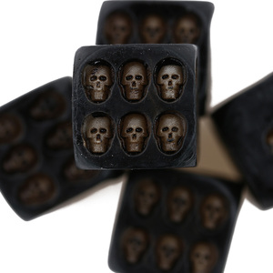 1 Set 5 Nemesis Black Skull Dice Grinning Skull Deluxe Devil Poker Dice Gambling Dice Tower with Death Gambling Board Game Tool(China)