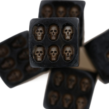 1 Set 5 Nemesis Black Skull Dice Grinning Skull Deluxe Devil Poker Dice Gambling Dice Tower