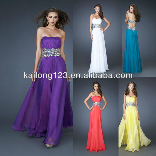 Sophisticated Strapless Cut Out Back Long Purple Yellow White Teal ...