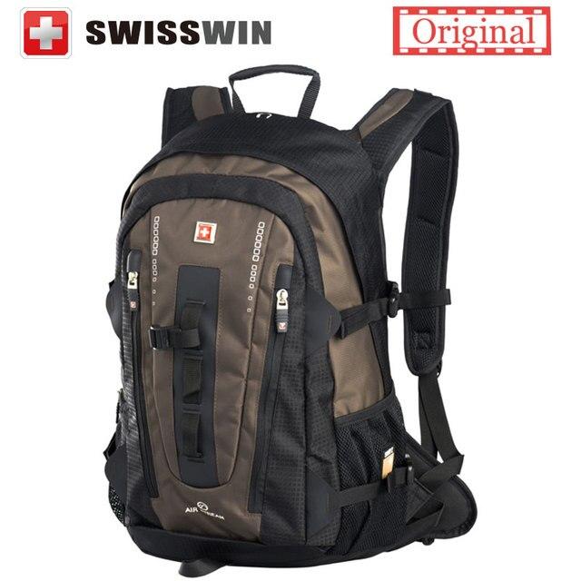Swisswin большой мода рюкзак 32л мульти-карман ежедневно рюкзак для женщин и мужчин черный коричневый с грудины ремень
