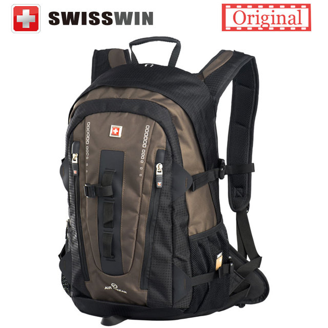 Swisswin Big Fashion Backpack 32L Multi-pocket Daily swissgear wenger Backpack for Women and Men Black Brown with Sternum strap