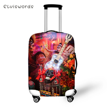 ELVISWORDS Protective Suitcase Cover COCO Music Skull Pattern Elastic Dust-proof Luggage Waterproof Accessories