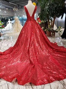 Image 2 - HTL185 robe rouge réfléchissante a ligne robes de soirée brillantes sexy col en v manches v back robes de soirée de mariage robe de soirée brillante