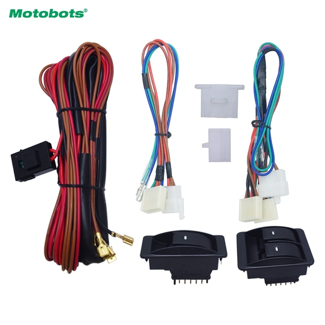 motobots 1set universal car front 2-door power window 3pcs switches &  holder wire harness
