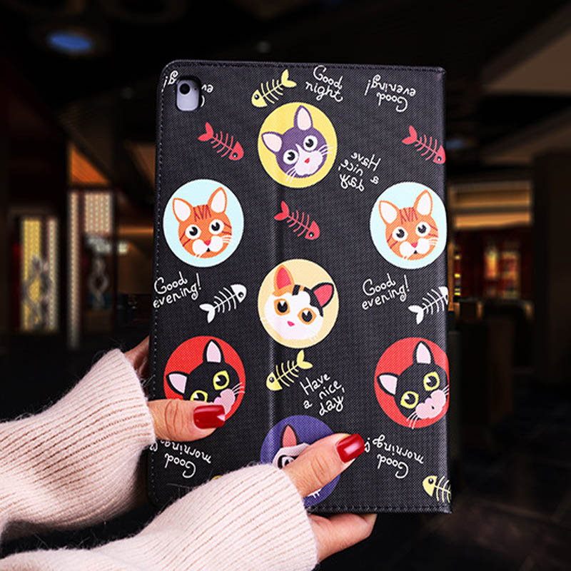Tablet protective case For ipad pro 10.5 Flip smart stand cover pu leather Cute cat Cartoon illustration Case For ipad pro 10 (2)