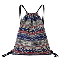 10PCS / LOT Women Drawstring Bags Travel Backpack Portable Bohemian Printing Reusable Pouch Wholesale