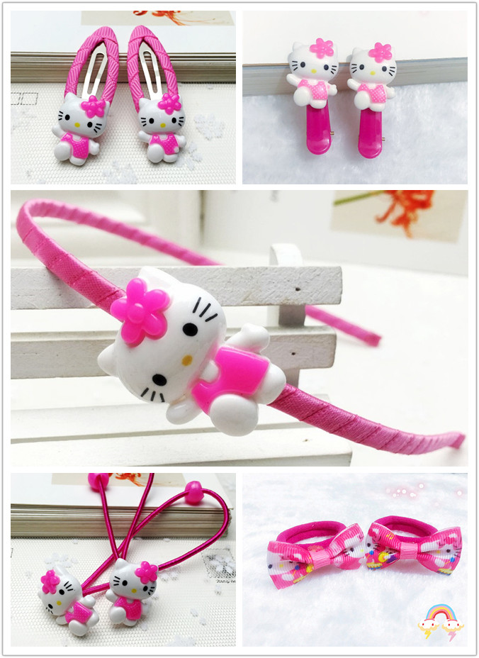 1 Set Cartoon Hello Kitty Accessories For Children Gift Girls Hairclip Hairpin Hair Hoop Rubberband Headdress Accessories children fashion bobby pins hairpin headwear set 6pcs set girls cartoon hello kitty fox owl cat animal bb clips hair accessories