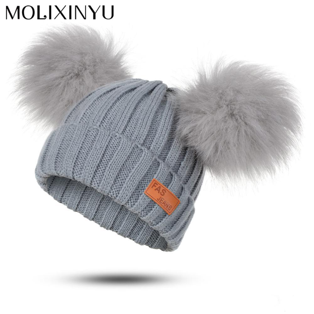 Boys Girls Pom Poms Hat Thick Warm Winter Children/'s Soft Cotton Knitted Beanies