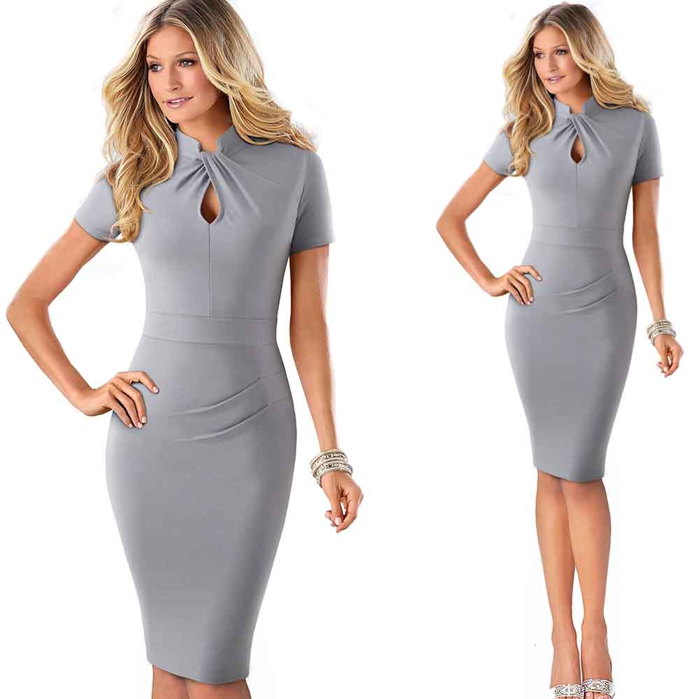 Elegant Work Office Business Drapped Contrasting Bodycon Slim Pencil Lady Dress Women Sexy Front Key Hole Summer Dress EB430 55