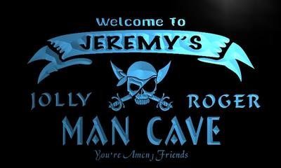 x0076-tm Jeremys Man Cave Jolly Roger Skull Custom Personalized Name Neon Sign Wholesale Dropshipping On/Off Switch