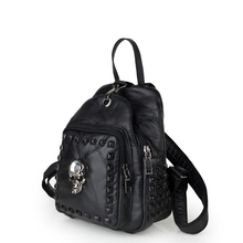 Genuine Leather  Rivet Skull Backapck 2016 New Trendy Sheepskin Fashion Patchwork Black Daypack Women Casual Small Schoolbag