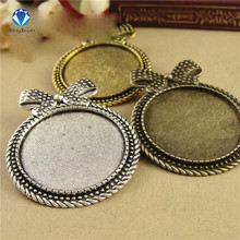 MINGXUAN 5pcs/lot Inner size 30mm Brooch Base Bow Pendant Antique Bronze Setting Cabochon Tray  DIY Jewelry Findings C753