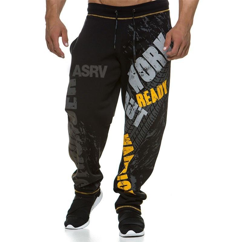 muscle mens Sweatpants fitness training joggers casual Autumn cotton Fashion streetwear pants men Elastic waistband