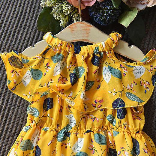 الفتيات الشيفون اللباس الصيف شاطئ بوهو طفلة الملابس زهرة طباعة كشكش Vestidos الاطفال فساتين للبنات 2019 الأصفر