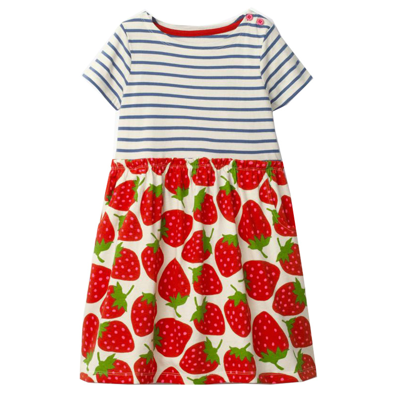 Vestidos Girls Summer Dress 2018 Brand Children Strawberry Dress for Girls Clothes Cotton Princess Dress Kids Tunic Costumes little j summer girls dress kids sleeveless strawberry printed princess dress cotton vestidos children clothes bowknot dress