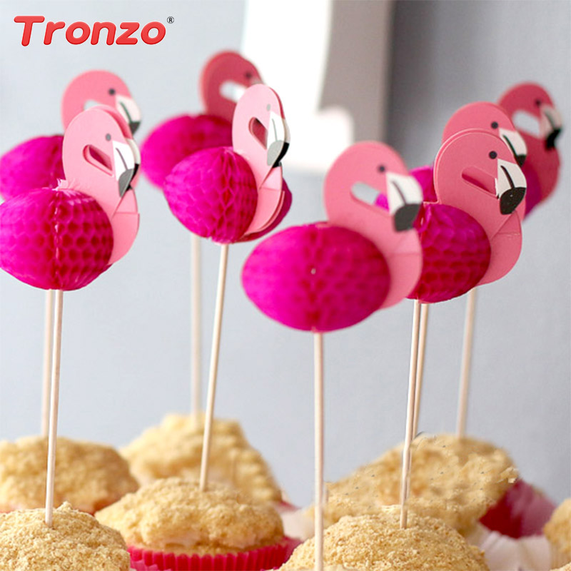 Tronzo 10PCS Pink Flamingo Cupcake Toppers For Wedding Decoration Flamingo Tropical Party Supplies Baby Shower Cake Topper