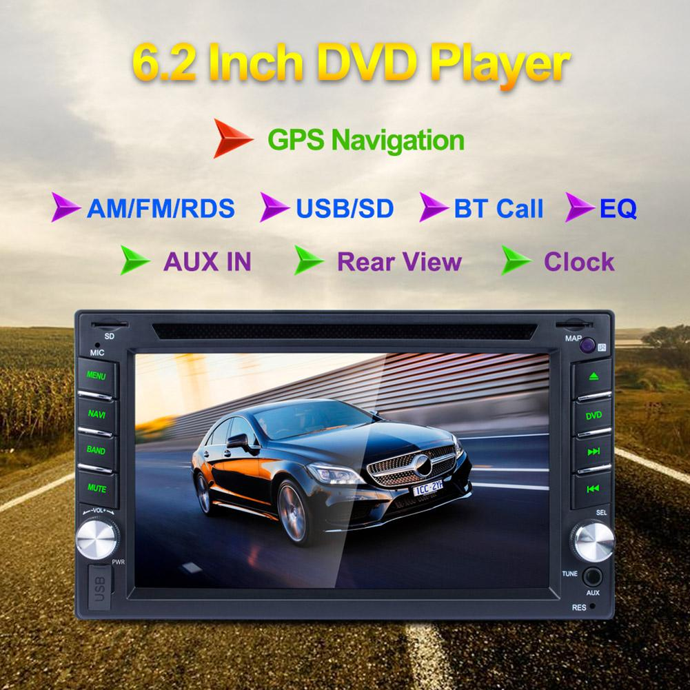 6.2 Inch Touch Screen GPS Navigator 2 Din BT Calls BT Music DVD Player AM FM RDS Radio CD Disc Player Car Rear View AUX Input