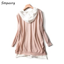 Smpevrg ladies sweater women sweaters and pullovers three quarter sleeve hooded women pullover female knitted spring autumn coat