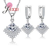 Jemmin Freedom Love Clear White Crystal Anniversary Jewelry Set 1Pair Earrings 1pc Necklace Pendent High Quality