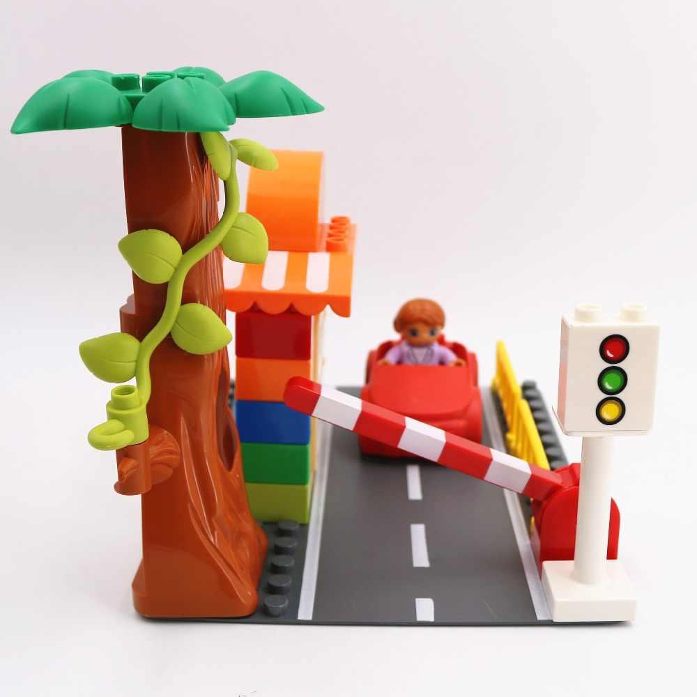 Accesorios bloques de construcción coches de carretera de gran tamaño bicicleta de policía Compatible con la marca L Duploe partes juguetes para niños regalos de navidad
