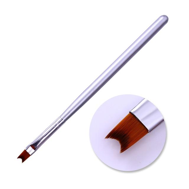 French Tip Nail Brush Silver Black Handle Half Moon Shape Acrylic Painting Drawing Pen  Nail Art Tool 4