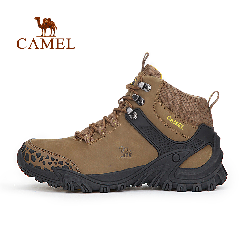 CAMEL High-Top Leather Hiking Shoes Men Waterproof Antiskid Warm Trekking Outdoor Sports Brand Hunting Mountain Climbing Boots kimio ultra slim top brand woman watches fashion ladies crystal clock black ceramics gold luxury women rhinestone diamond watch
