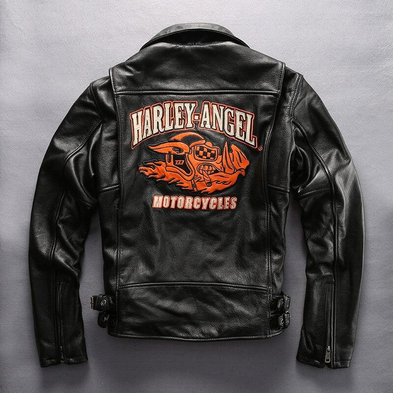 Harley angle genuine leather motorcycle jacket men pattern
