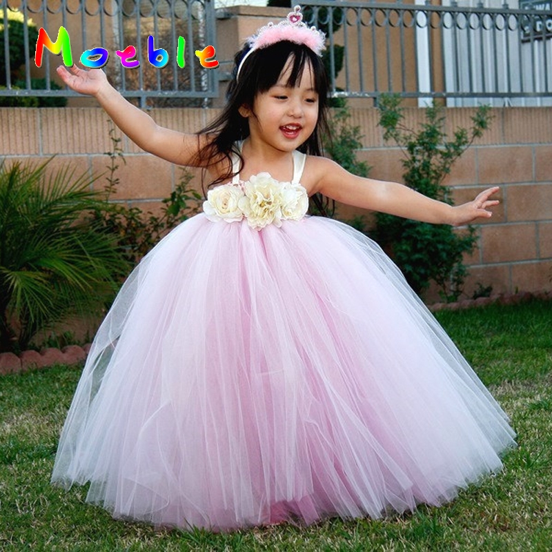 Pink Mix White Elegant Baby Girl Princess Tutu Long Dress