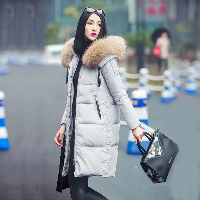 Large Real Natural Raccon Fur 2016 High Quality Long Hooded Winter Jacket Women White Duck Down Coats Brand Parka Female Jacket