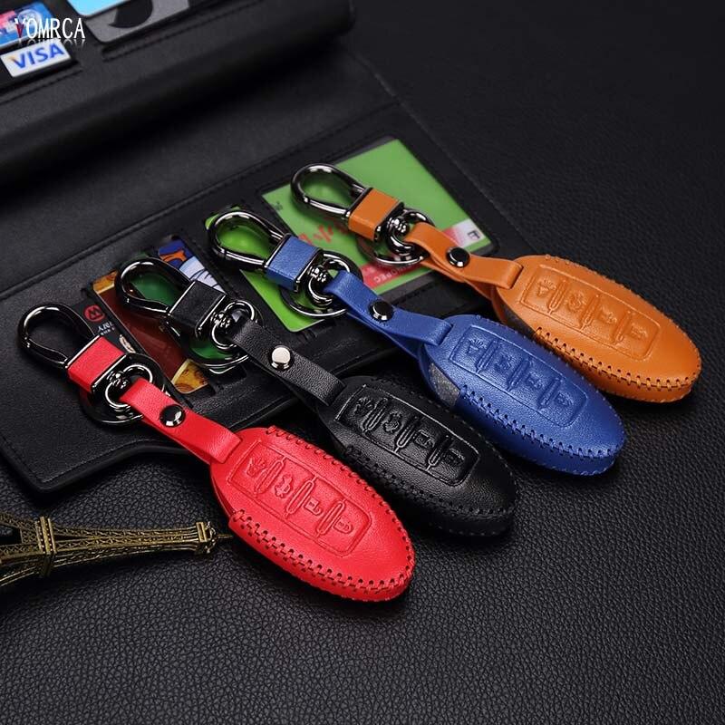 High quality leather color key cover for Nissan Altima qashqai x-trail tiida almera juke note primera remote control 4 button