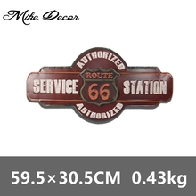[ Mike Decor ] Route 66 Service Station Mural Painting Vintage Gift Irregular Wall Metal Plaque Party Store Hotel decor YF-26