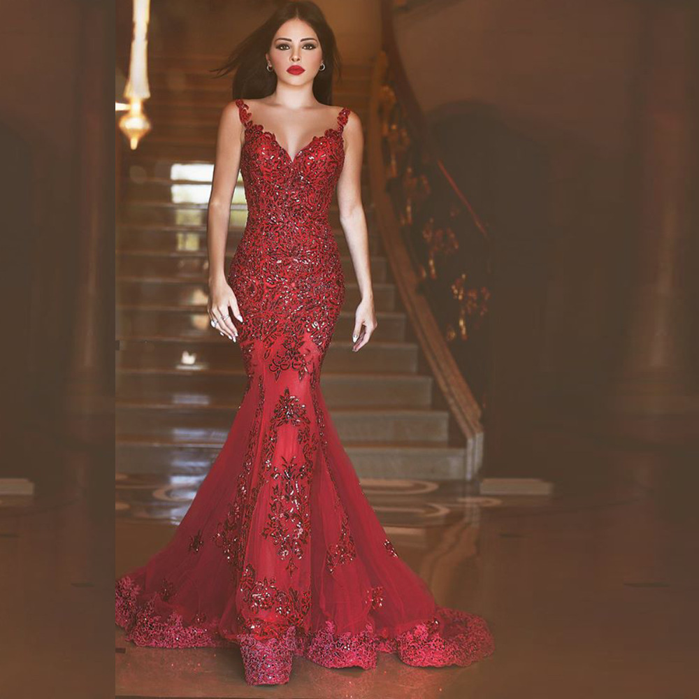 Sexy Backless Red Lace Long Evening Party Gown Elegant Vestido De Festa Longo Mermaid Prom 2018 Mother Of The Bride Dresses