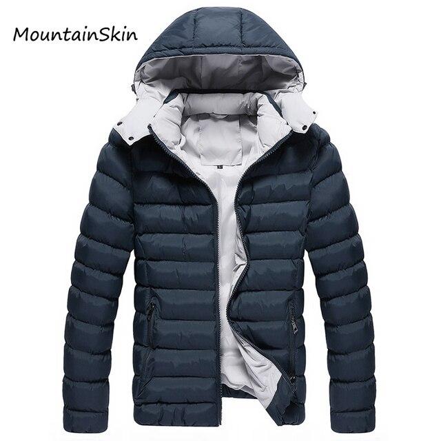 Mountainskin Homens Jaqueta de Inverno Homens Encapuzados Parkas Casacos Roupas de Marca Hoodies Moda Grosso Quente Casual Masculino Térmica LA142