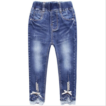 Spring Autumn Pearl Ribbon Jeans Casual Pants Trousers Girls Clothes Cotton Bomb Denim Exquisite Girl Pants 1
