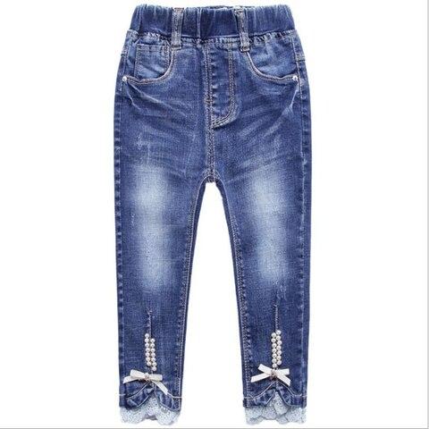 primavera outono perola fita jeans calcas casuais calcas meninas roupas de algodao bomba denim requintado