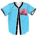 Kirby Kill Yourself Jersey funny   baseball shirt with buttons  3d tops Hip Hop tee shirt  Men's shirts