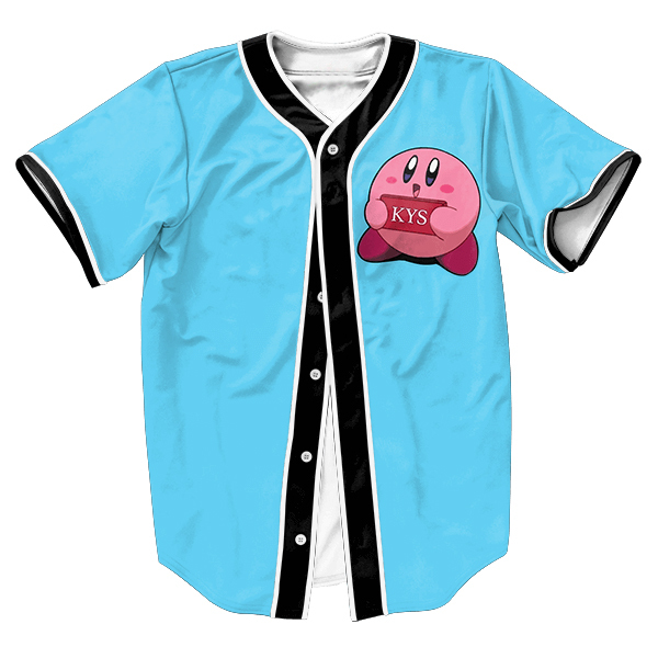 Kirby Se Matar Jersey baseball engraçado camisa com botões tops 3d tee Hip Hop camisa camisas dos homens