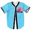 Kirby Suicidarte Jersey divertido béisbol camisa con botones tops 3d Hip Hop camiseta de Los Hombres camisetas
