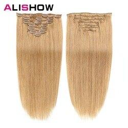 Alishow, extensiones de cabello humano con Clip, Set de 7 unidades de cabello liso de 100g hecho a máquina, Clip de cabello Remy, Extensiones de Cabello 100% humano