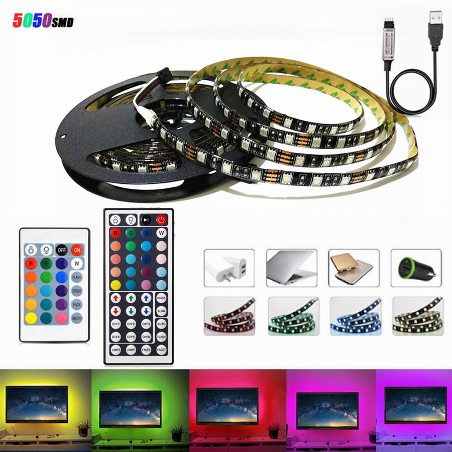LED Light Black PCB DC 5V 5050 SMD RGB USB cable LED Strip light TV Backlight ribbon lamp remote control 1M 2M 3M 4M 5M 60Led/M цены