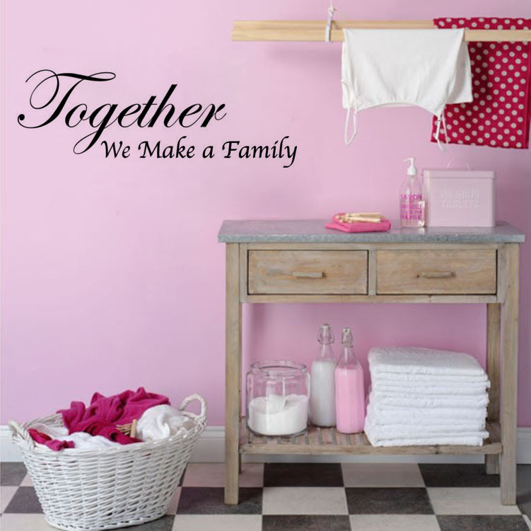 BUCKOO Wall Decals Store Free shipping: Together We Make A Family Art Wall Quote Living Room Sticker Art Vinyl Stickers Room Decoration Ho