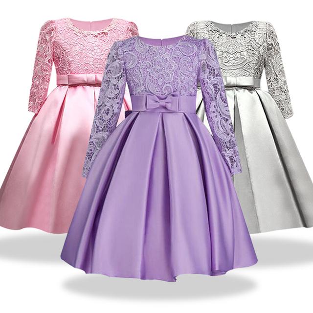 Highend elegant Girls Dresses Long sleeve silk Lace Christmas Clothes Wedding Party Dress For Girl Children's Princess Dresses