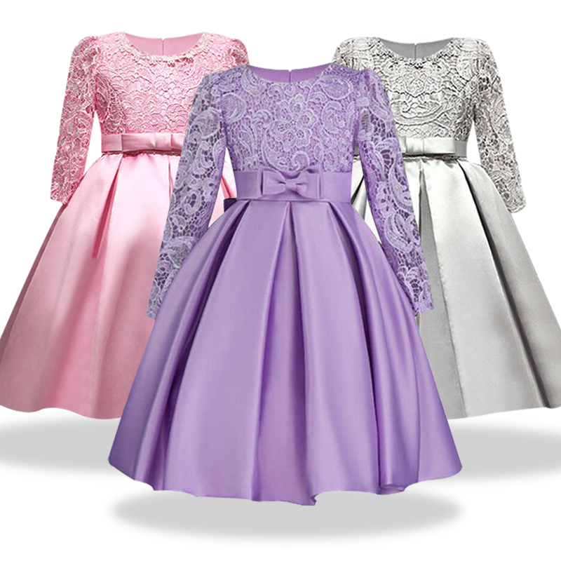 Highend elegante niñas vestidos de manga larga encaje de seda ropa ...
