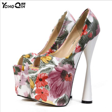 Ladies Sexy Printing Ultra High Heel Shoes Size 20cm Thick Platform Pumps Women Shoes Size 34-43